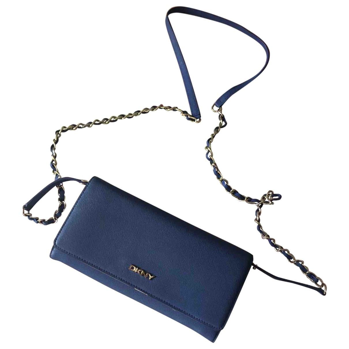 Dkny - Pochette   pour femme en cuir - bleu