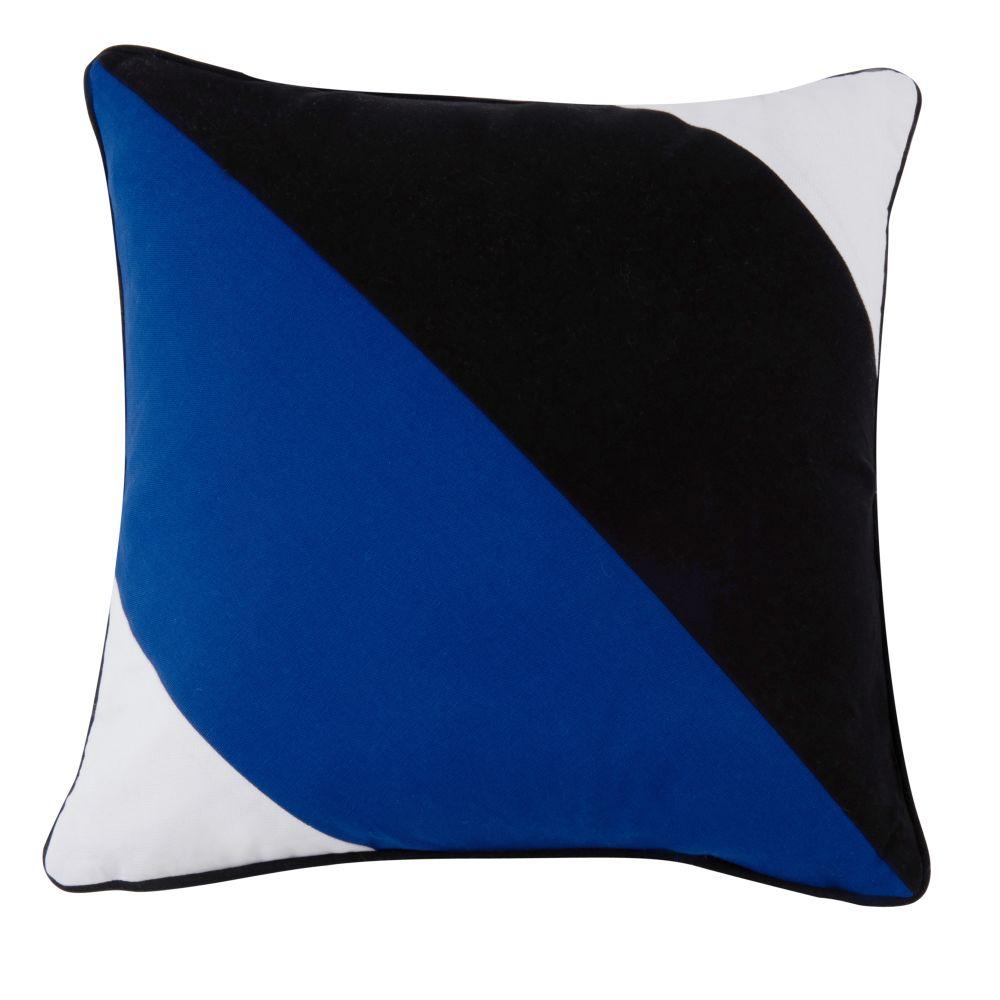 Baumwollkissen blau, schwarz, weiss 45x45