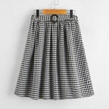Girls O-ring Belted Houndstooth Skirt