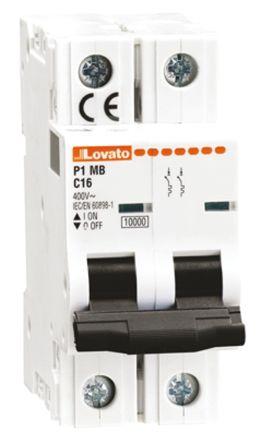 Lovato ModuLo 1 A MCB Mini Circuit Breaker, 2P Curve B