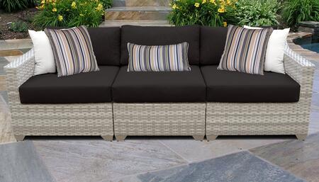 Fairmont Collection FAIRMONT-03c-BLACK 3-Piece Patio Sofa with Left Arm Chair  Armless Chair and Right Arm Chair - Beige and Black