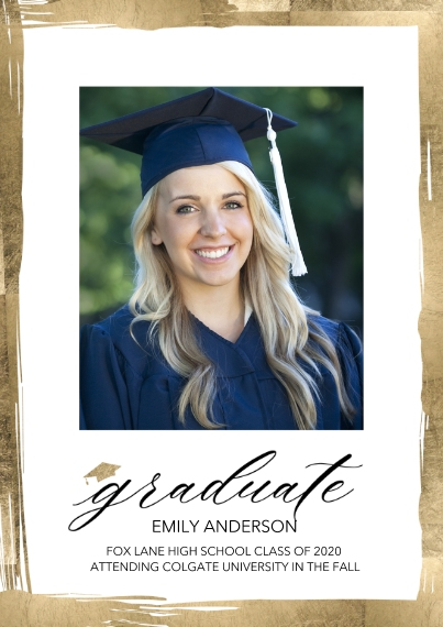 Graduation Announcements Flat Matte Photo Paper Cards with Envelopes, 5x7, Card & Stationery -Graduate Painted Borders by Tumbalina