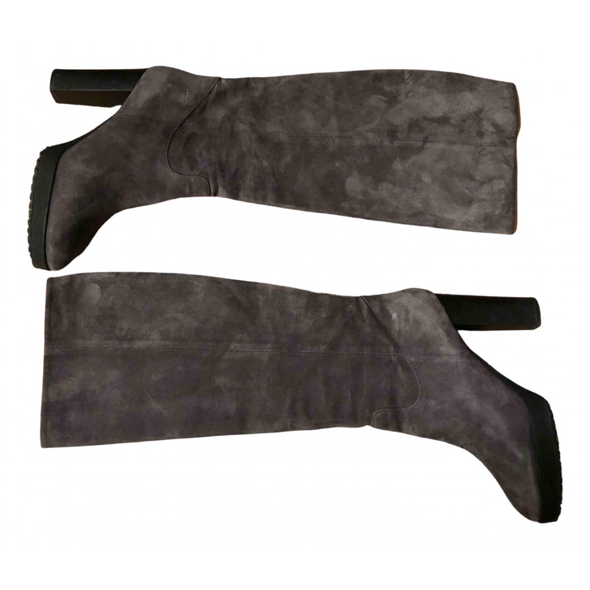 Hogan - Bottes   pour femme en suede - gris