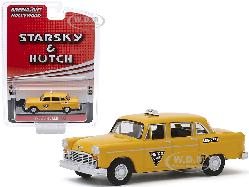 1968 Checker Taxi Metro Cab Co. Yellow Starsky and Hutch (1975-1979) TV Series Hollywood Special Edition 1/64 Diecast Model Car by Greenlight