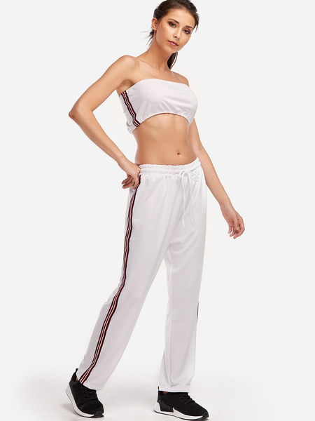 Yoins White Stripe Strapless Fashion 2-piece Tube Suits