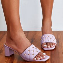 Studded Decor Quilted Chunky Heeled Mules