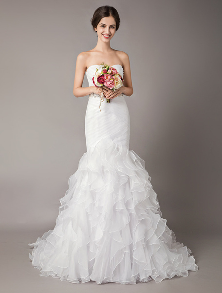 Milanoo White Wedding Dresses Mermaid Strapless Organza Beading Pleated Tiered Bridal Gowns
