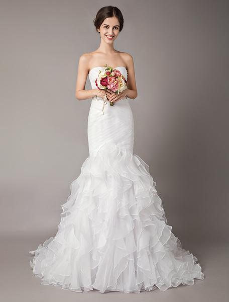 Milanoo Vestidos de novia blancos Sirena sin tirantes de organza rebordear plisado vestidos de novia con gradas