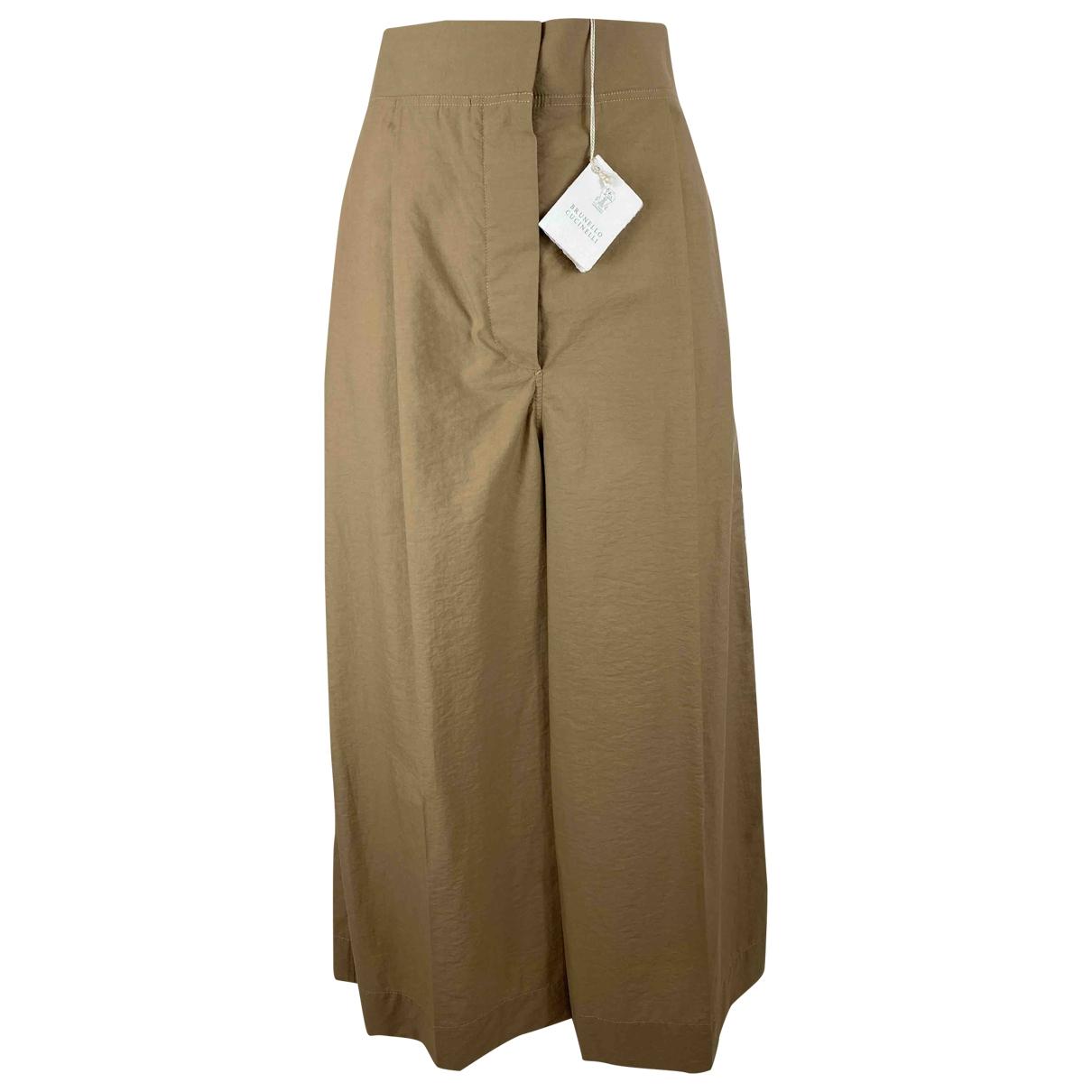 Brunello Cucinelli \N Beige Cotton Trousers for Women 42 IT