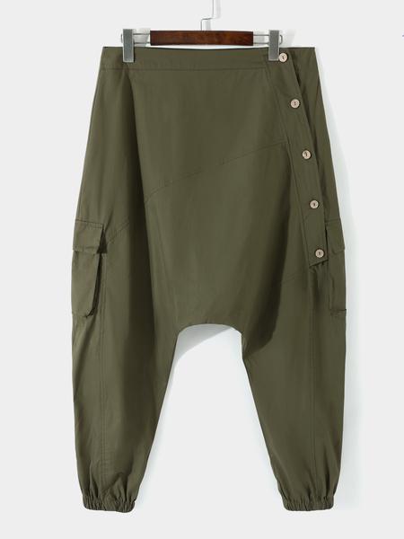 Yoins Men Oblique Button Placket Leisure Baggy Harem Pants