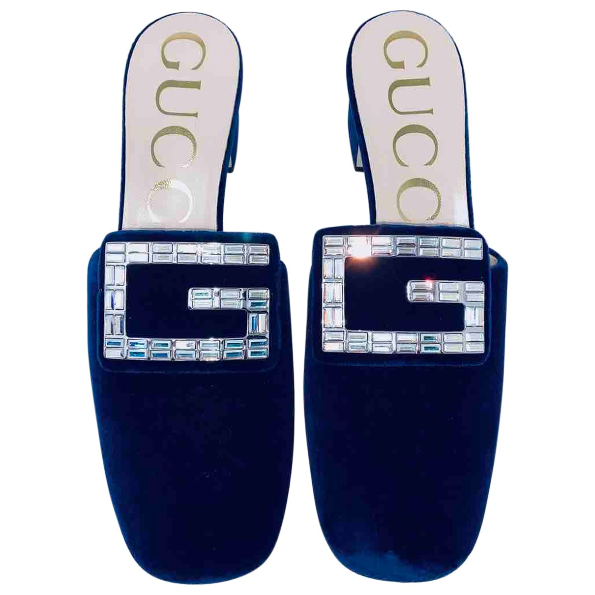 Gucci N Navy Velvet Sandals for Women 38 IT