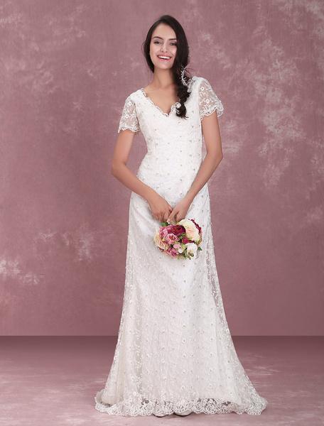 Milanoo Ivory Lace V-Neck Glamorous Short Sleeve Wedding Dress