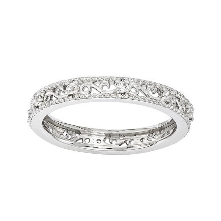 Personally Stackable Genuine White Topaz Filigree Eternity Ring, 5 , No Color Family