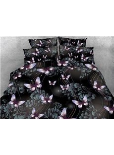 Butterfly and Floral Shadow Printed Cotton 4-Piece 3D Bedding Sets/Duvet Covers