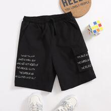 Boys Drawstring Waist Flap Pocket Slogan Graphic Shorts