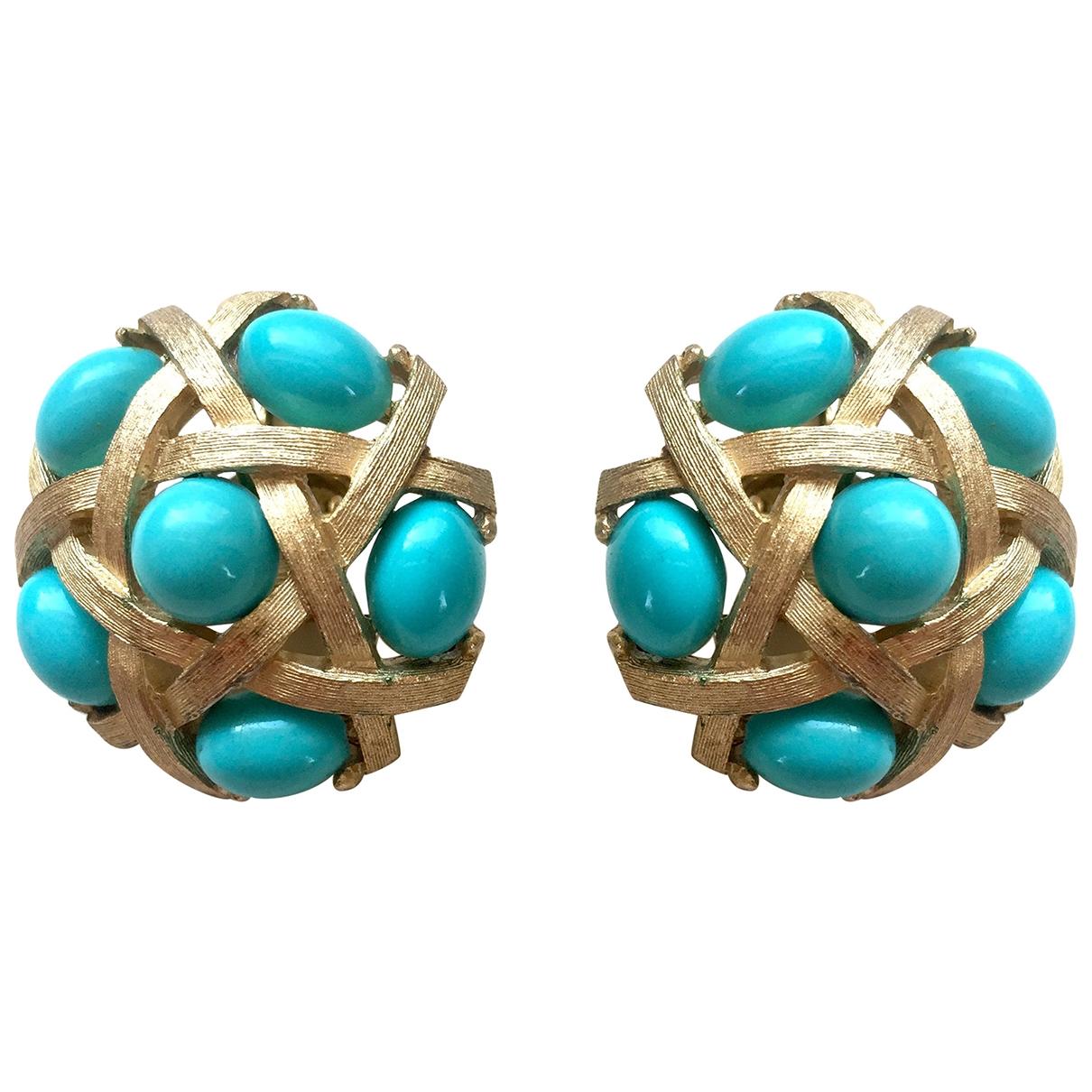 Trifari - Boucles doreilles   pour femme en metal - turquoise