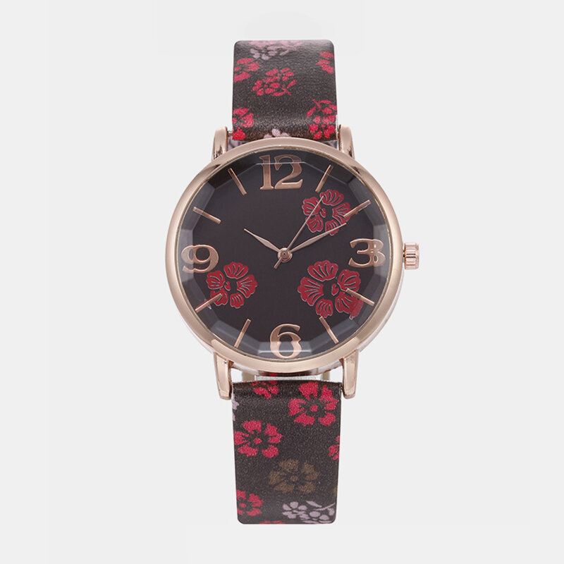 Funny Sport Women Watch Leather Band Rose Gold Case Super Light Flower Quartz Watch