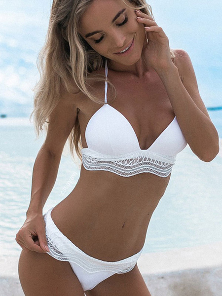 Milanoo White Bikini Swimsuit 2020 Halter Low Waist Women Beach Bathing Suit