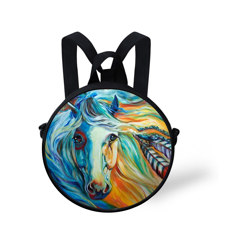 Round 3D Blue Horse Pattern School Bag Shoulders Backpack