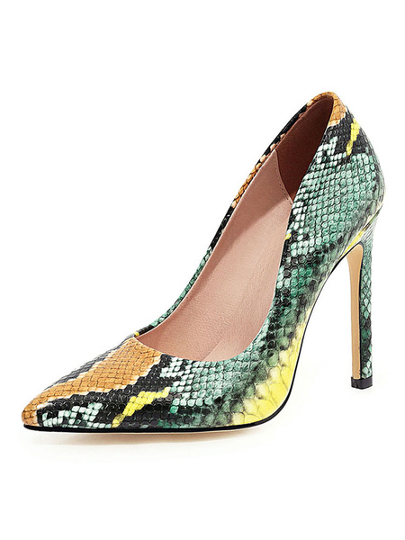 Milanoo Tacones altos de la mujer punta estrecha estampado de serpiente Bombas mas el tamaño de los zapatos