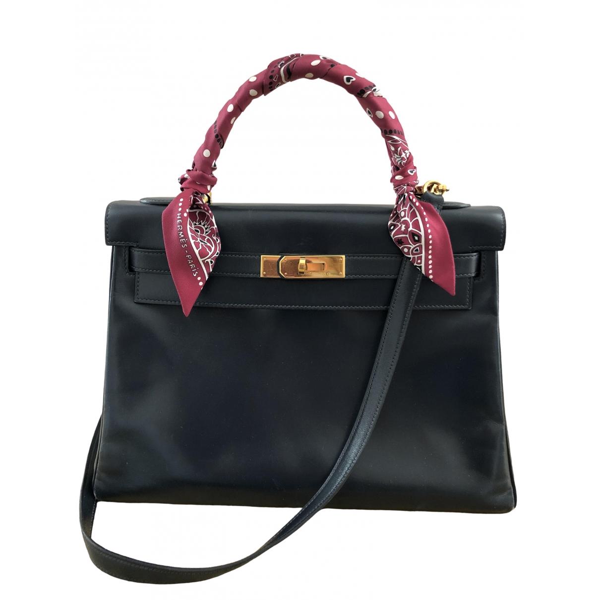 Hermès Kelly 32 Blue Leather handbag for Women \N