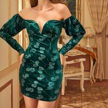 Schulterfreies Samt Kleid mit V Kragen, Gigotaermeln und Blumen Muster