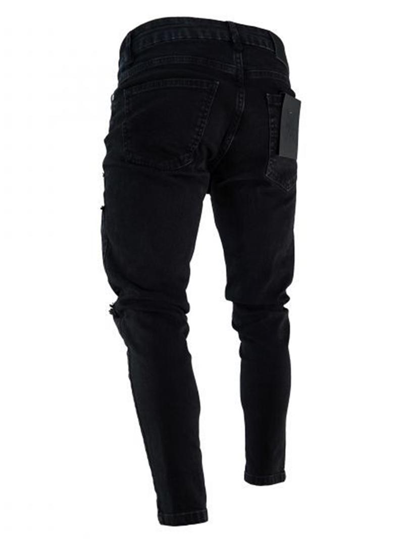 Ericdress Black Zip Designed Skinny Mens Ripped Jeans