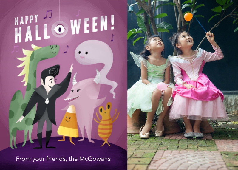 Halloween Photo Cards Flat Matte Photo Paper Cards with Envelopes, 5x7, Card & Stationery -Monster Mash Greeting
