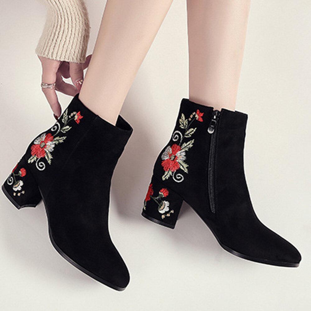 Women Winter Flowers Embroideried Warm Linned Chunky Heel Zipper Boots