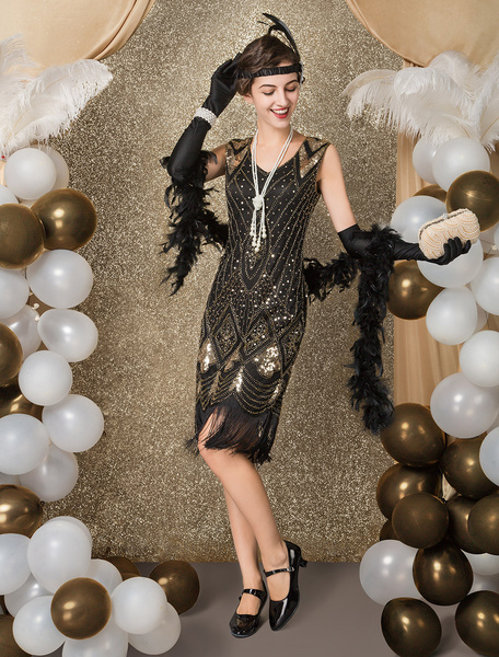 Milanoo Disfraz Halloween Vestidos años 20 color albaricoque con lentejuela Charleston disfraz Disfraces Retro para Mardi Gras estilo femenino Disfraz