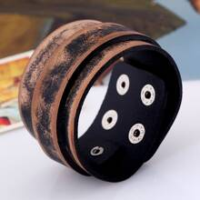 Men Metal Button PU Leather Bracelet