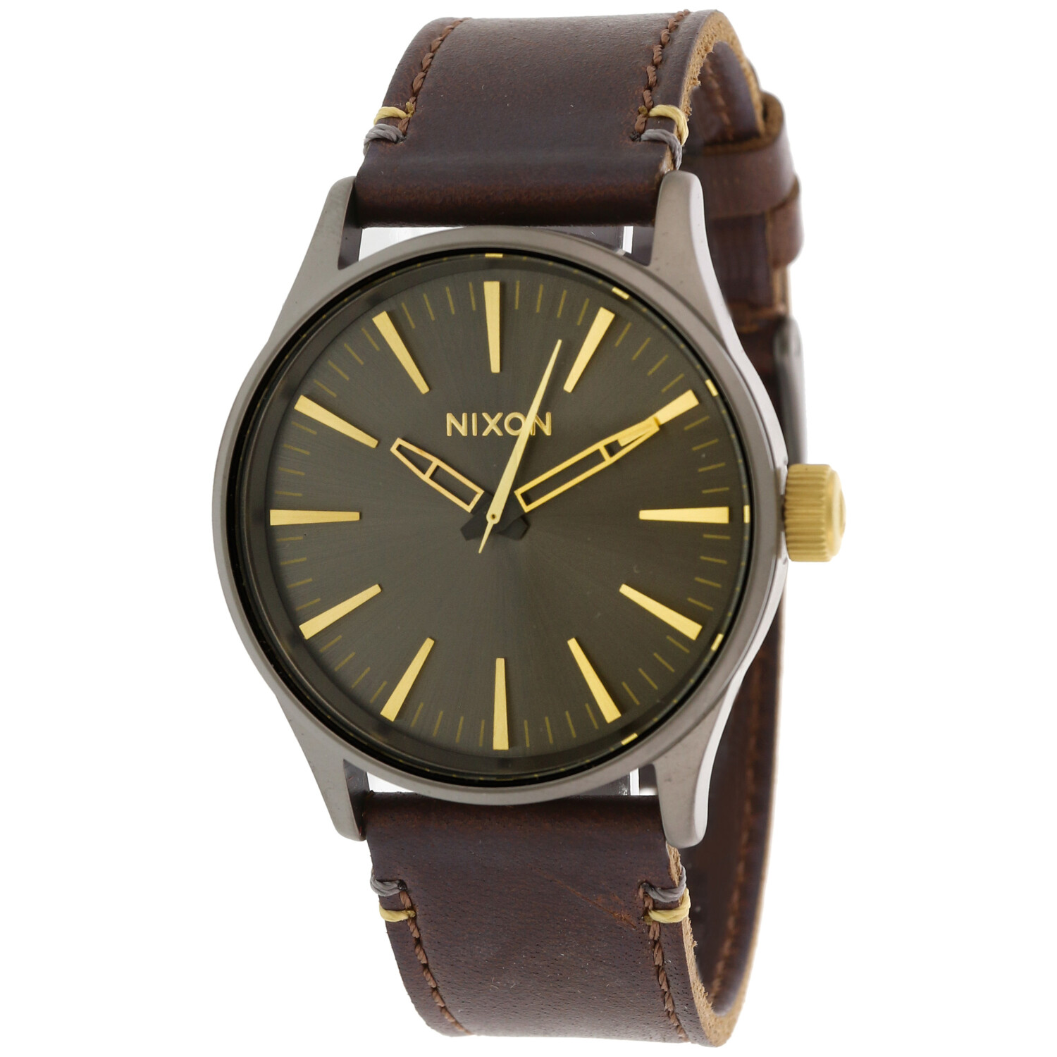 Nixon Men's Sentry 38 A377595 Brown Leather Japanese Quartz Dress Watch
