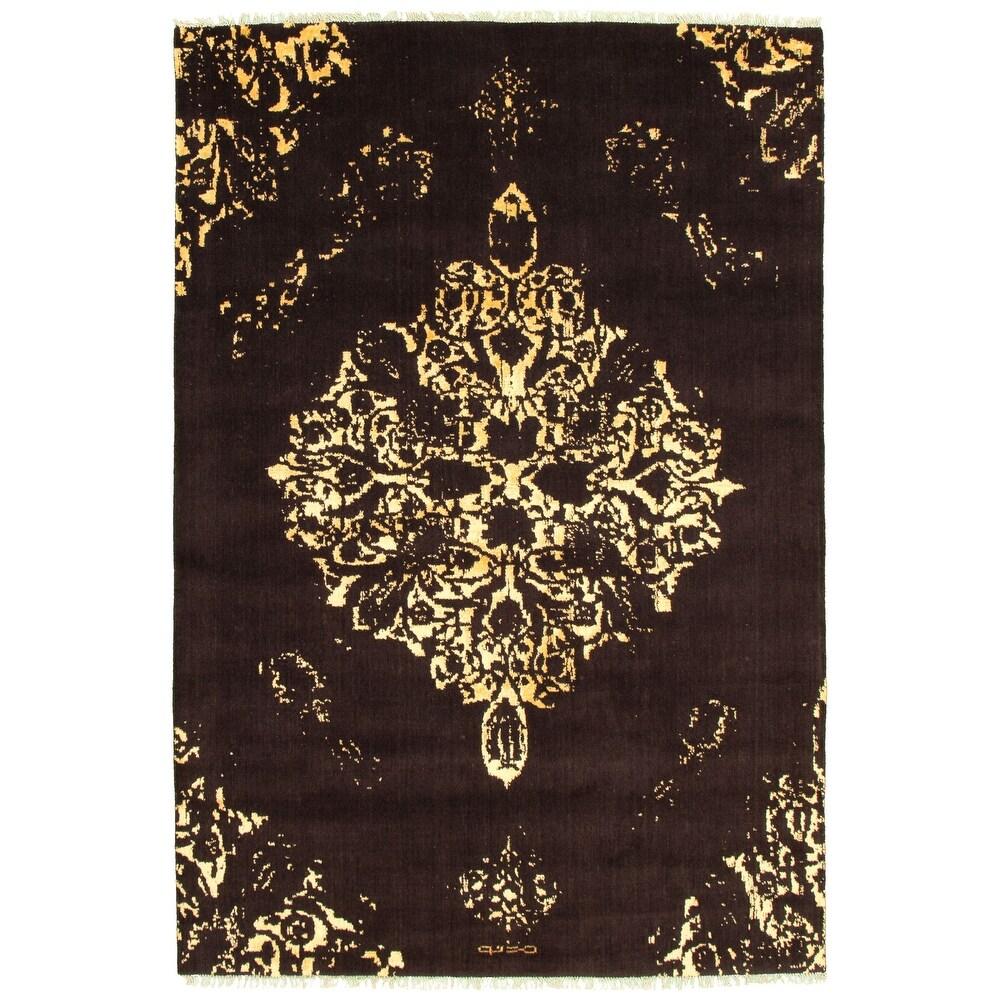 ECARPETGALLERY  Hand-knotted La Seda Brown Silk, Wool Rug - 6'4 x 9'3 (Dark Brown - 6'4 x 9'3)
