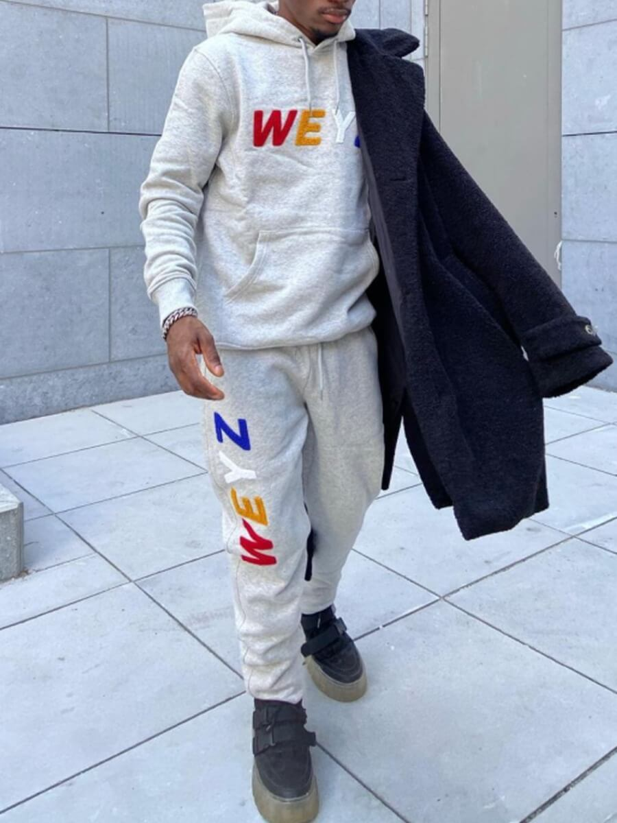 LW Lovely Casual Hooded Collar Letter Print Light Grey Men Two-piece Pants Set