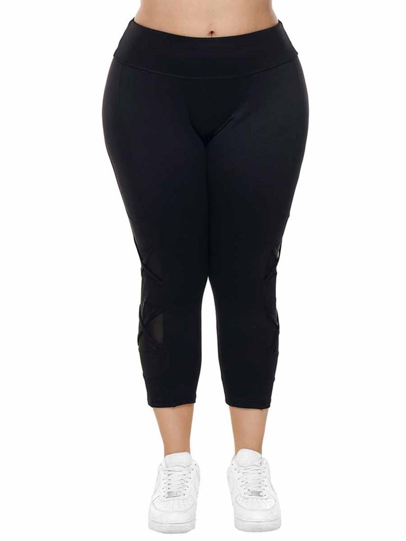 Ericdress Women Plus Size Solid Mesh Patchwork Yoga Pants