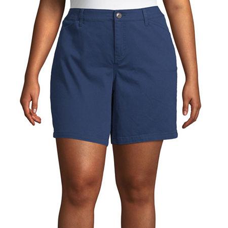 St. John's Bay Womens Mid Rise Chino Short-Plus, 18w , Blue