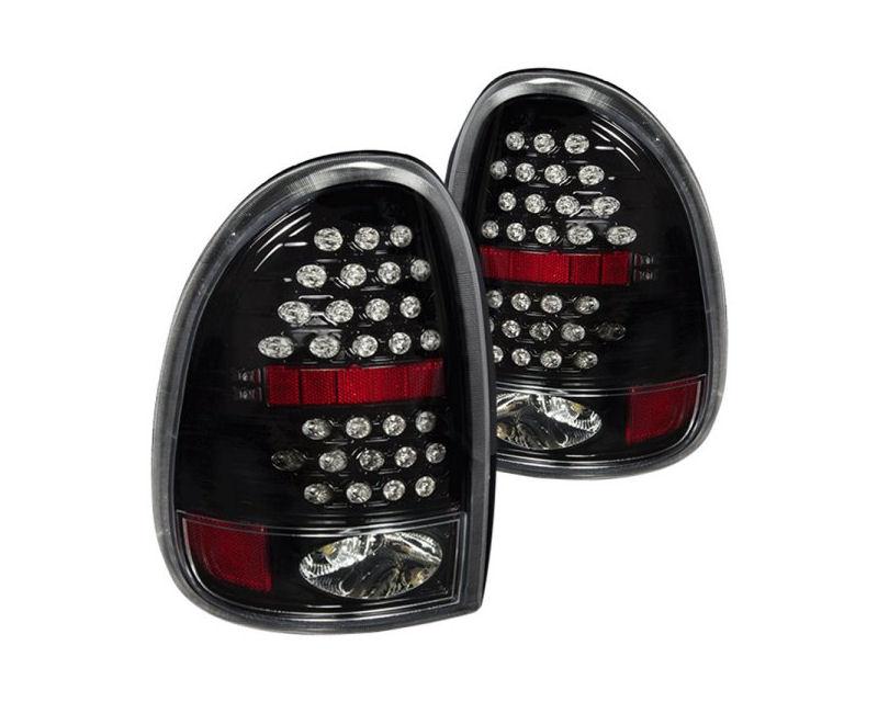 Winjet WJ20-0013-16 Clear Glossy Black LED Tail Lights Dodge Durango 98-03