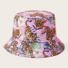 Flower & Tiger Print Bucket Hat
