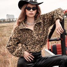 Leopard Drop Shoulder Faux Fur Sweatshirt