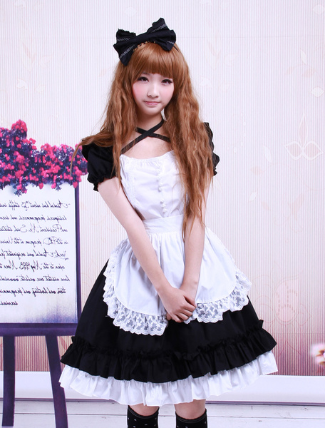 Milanoo Sweet Black Cotton Maid Lolita One-piece White Apron Short Sleeves Lace Trim