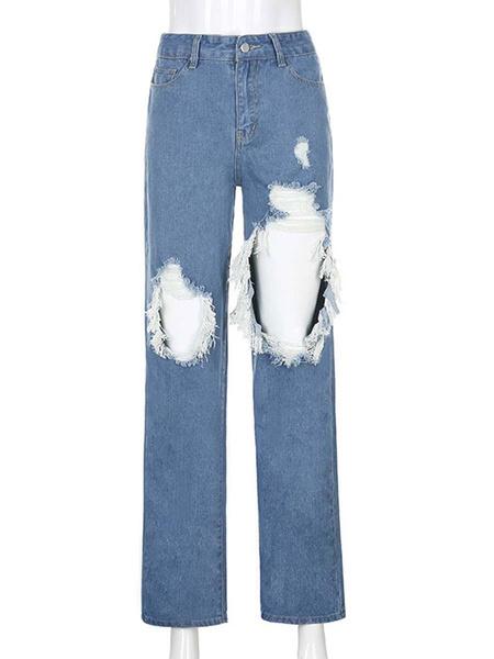 Milanoo Women\'s Jeans Pants Blue Cut Out Denim Trousers