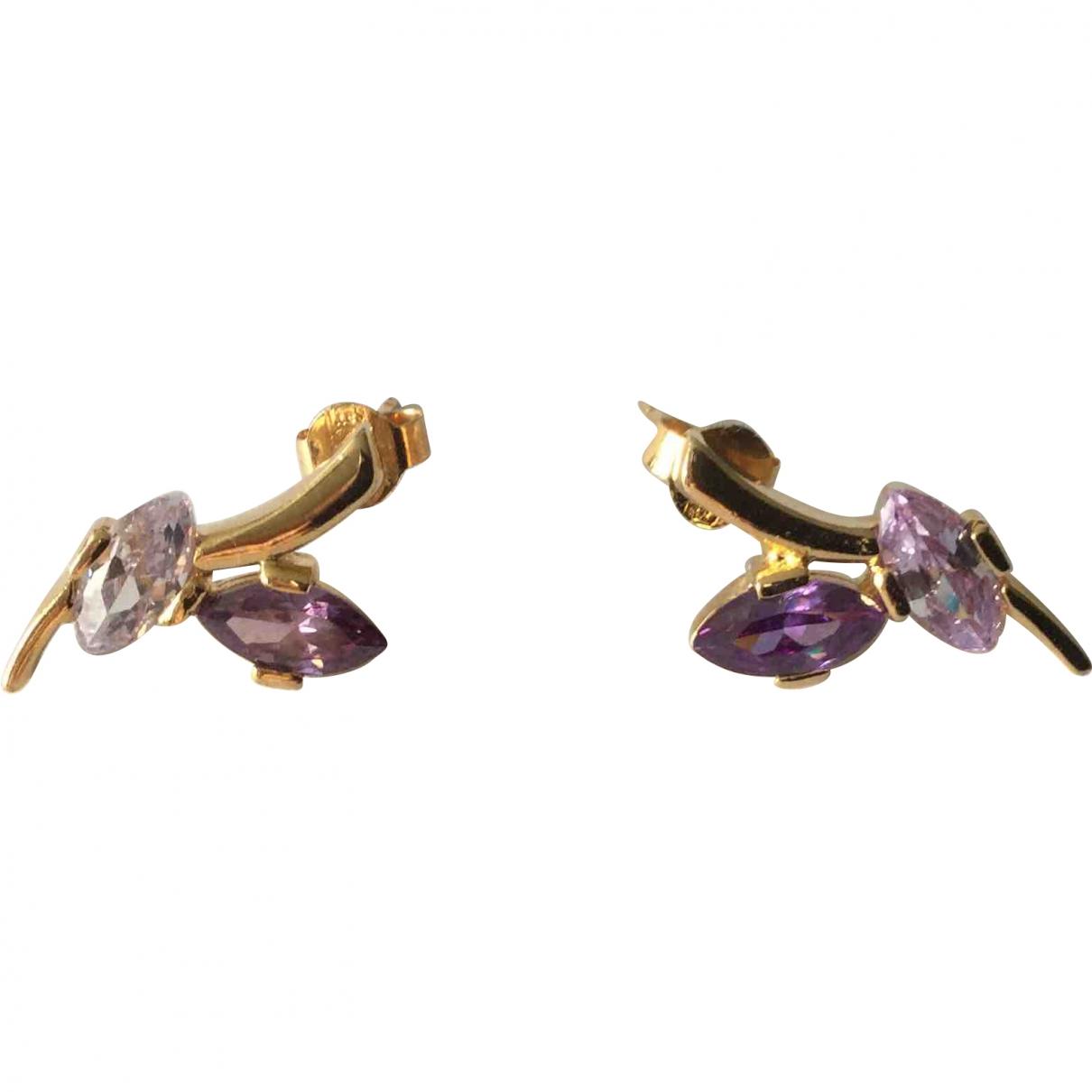 - Boucles doreilles   pour femme en plaque or - violet