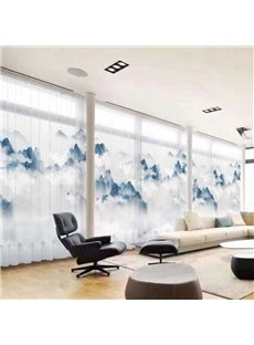 3D Mountains and Clouds Chinese Style Polyester Sheer Curtains