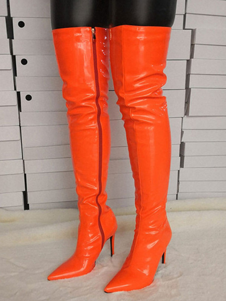 Milanoo Thigh High Boots Womens PU Solid Color Pointed Toe Stiletto Heel Over The Knee Boots