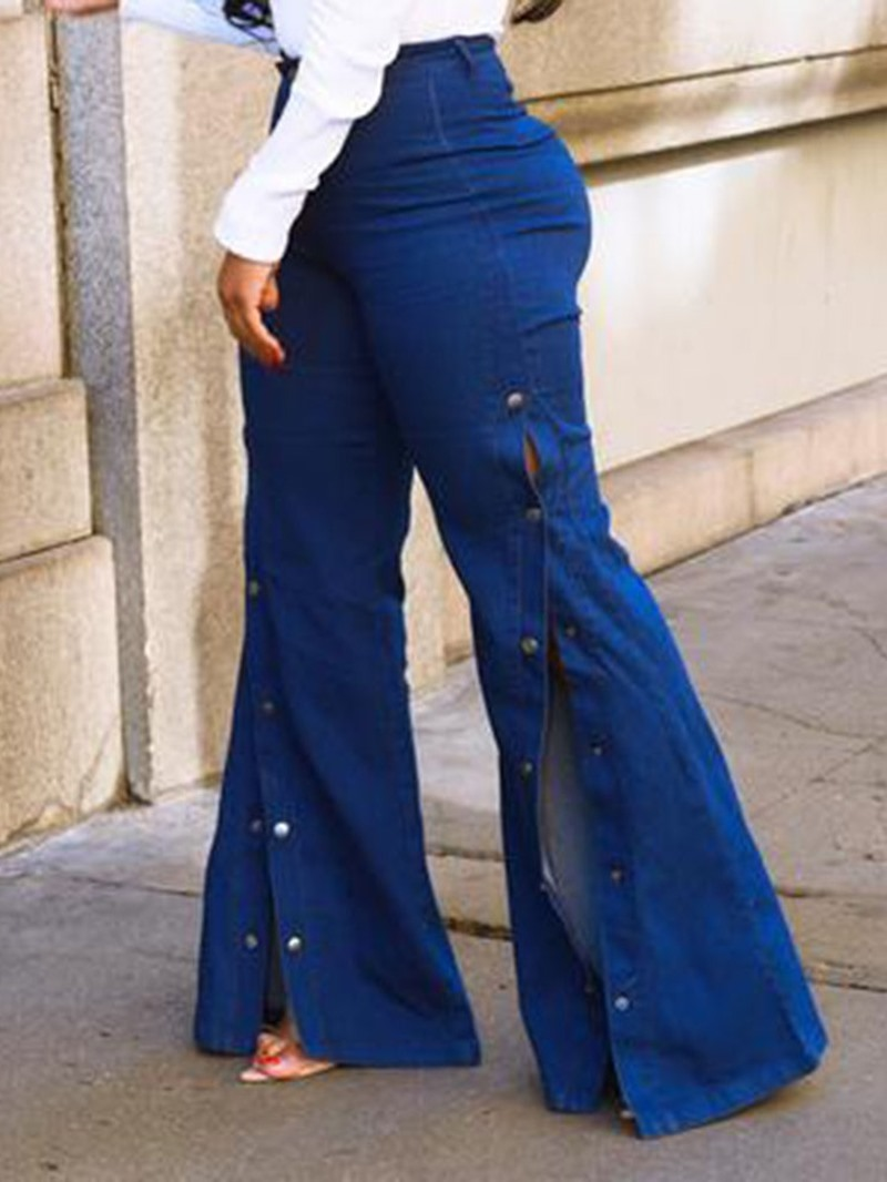 Ericdress Plain Bellbottoms Slim High Waist Jeans