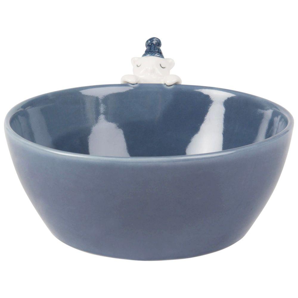 Schale Eule aus Porzellan, blau
