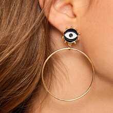 1pair Eye Decor Circle Hoop Earrings