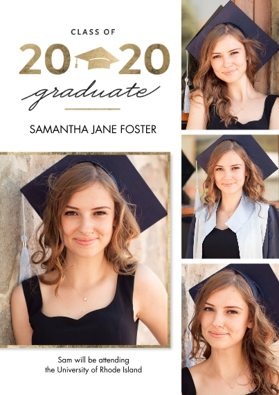 2020 Graduation Announcements 5x7 Cards, Premium Cardstock 120lb with Scalloped Corners, Card & Stationery -Graduation 2020 Gold Cap by Tumbalina