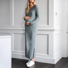 Maternity Rippenstrick Kleid mit seitlichen Knopfen