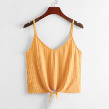 Knotted Hem Rib-knit Cami Top